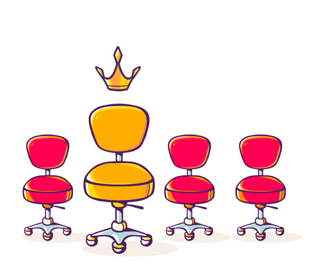 Vector illustration of set of red office chair and one yellow chair with crown on white background. Hand draw line art design for web, site, advertising, banner, poster, board and print.