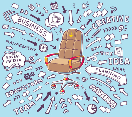 Vector illustration of brown office armchair of the head with lot words and arrows on blue background. Hand draw line art design for web, site, advertising, banner, poster, board and print. Ilustração