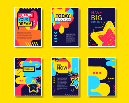color pages: Vector colorful design abstract modern style template collection for banner, flyer, placard, brochure and poster on yellow background. Illustration