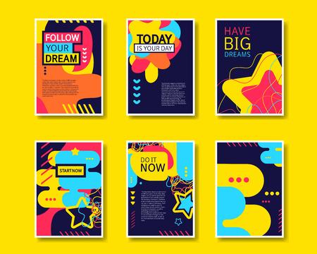de colores: Vector colorido diseño abstracto colección de plantillas de estilo moderno para la bandera, folleto, cartel, folleto y cartel sobre fondo amarillo. Vectores