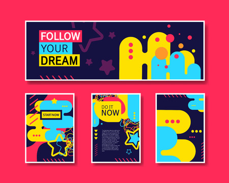 Vector Colorful Design Abstract Modern Style Template Collection for Banner, Flyer, Placard, Brochure and Poster on Red Background.
