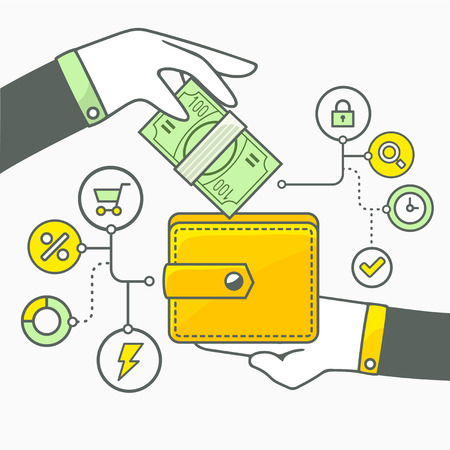 money wallet: illustration of two hands with money and wallet on light background