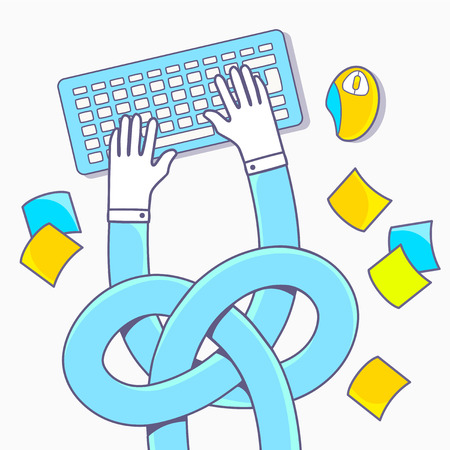 multitask: illustration of hands tied in a knot on light background Illustration