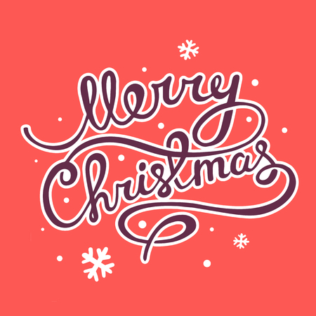 written text: illustration of christmas hand written text on red background with snowflakes
