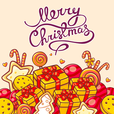 written text: illustration of red and yellow christmas items and hand written text on light background Illustration