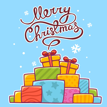 written text: illustration of colorful pile of christmas gifts and hand written text on blue background