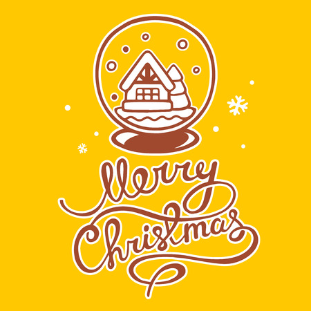 christmas snow globe: illustration of christmas snow globe and hand written text on yellow background with snowflakes