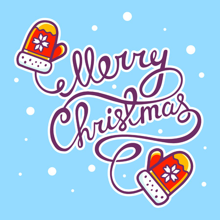 written text: illustration of red christmas mittens with hand written text on blue background with snowflakes