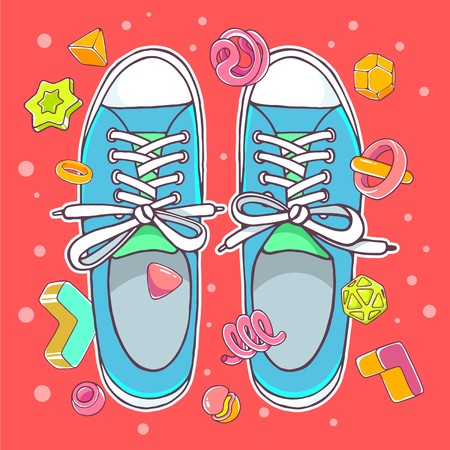 Vector colorful illustration of blue gumshoes on red background with abstract elements. Hand draw line art design for web, site, advertising, banner, poster, board, brochure and print. Illustration