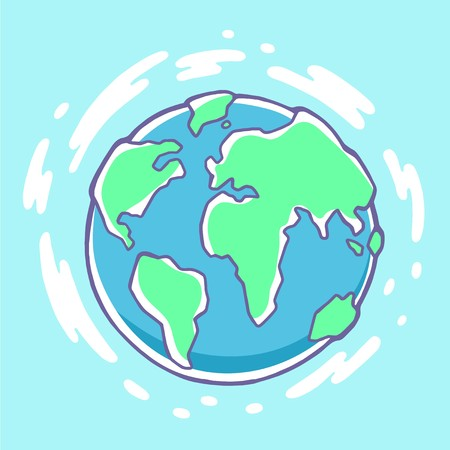 green environment: Vector colorful illustration of planet Earth on blue background with clouds. Hand draw line art design for web, site, advertising, banner, poster, board, brochure and print. Illustration
