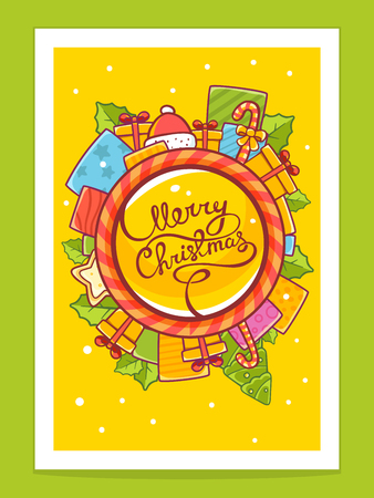ca: Vector illustration of red and yellow christmas items around world and hand written text on yellow background with white snowflakes. Bright color. Hand draw line art design for web, site, advertising, banner, poster, board, postcard, print and greeting ca Illustration