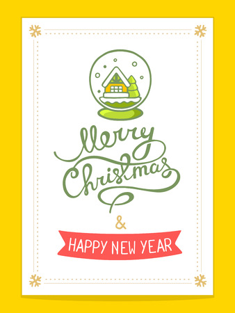 christmas snow globe: Vector illustration of christmas card with green christmas snow globe and hand written text on white background with gold snowflakes. Bright color. Hand draw line art design for web, site, advertising, banner, poster, board, postcard, print and greeting c