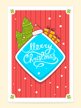 written text: Vector illustration of christmas items and hand written text on red background with white snowflakes. Bright color. Hand draw line art design for web, site, advertising, banner, poster, board, postcard, print and greeting card.