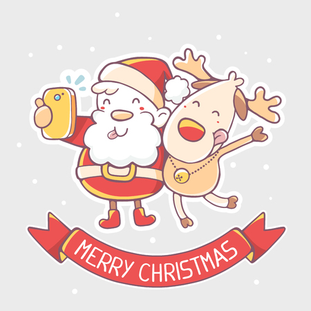 christmas cartoon: Vector illustration of santa claus and reindeer make selfie with red ribbon on gray background. Hand draw line art design for poster, flyer, brochure, greeting card, web, site, banner, board, postcard and paper print.
