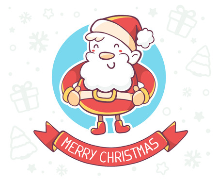 seasons cartoon: Vector illustration of standing full length santa claus with red ribbon on white background. Hand draw line art design for poster, flyer, brochure, greeting card, web, site, banner, board, postcard and paper print. Illustration