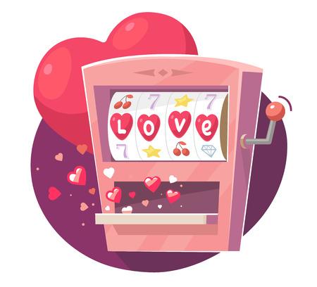 보라색 배경에 빨간색 하트와 게임 머신의 벡터 일러스트 레이 션. 발렌타인 데이 인사말 및 카드, 웹, 배너, 포스터, 전단지, 브로셔, 인쇄 아트 디자인