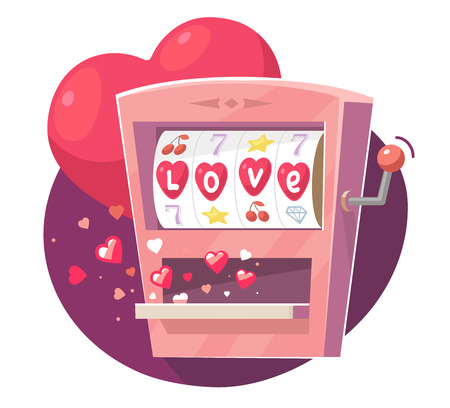 Vector illustration of gaming machine with red hearts on purple  background. Art design for Valentine's Day greetings and card, web, banner, poster, flyer, brochure, print. Stock Illustratie