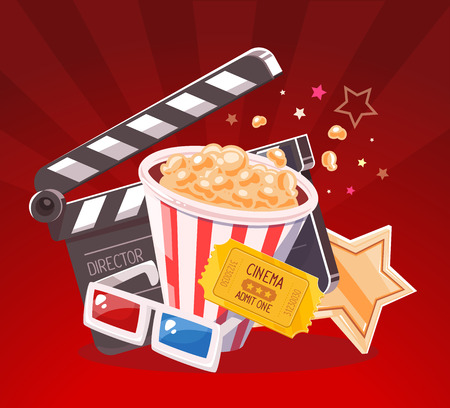 anaglyph: Vector realistic illustration of cinema glasses, clapper, popcorn, yellow ticket and star on red background with rays. Art design for web, site, advertising, banner, poster, flyer, brochure, board, paper print.