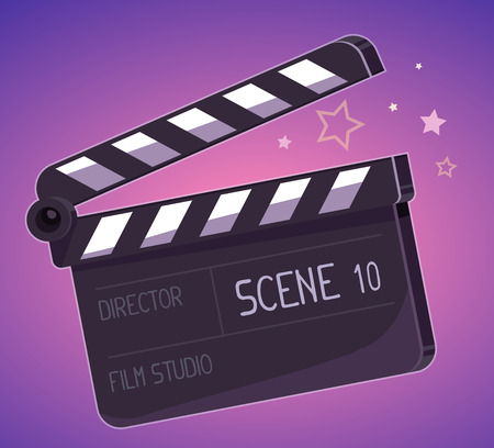 hollywood star: Vector illustration of big clapper board on purple background. Art design for web, site, advertising, banner, poster, flyer, brochure, board, paper print. Illustration