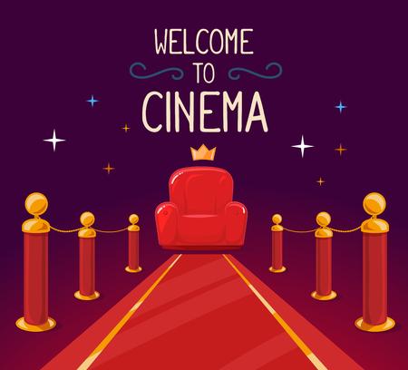 Ilustración del vector de alfombra roja estrella y sillón de cine con el texto sobre fondo morado. El diseño del arte para la web, sitio web, publicidad, bandera, cartel, folleto, folleto, tablero, impresión en papel. Foto de archivo - 52747011