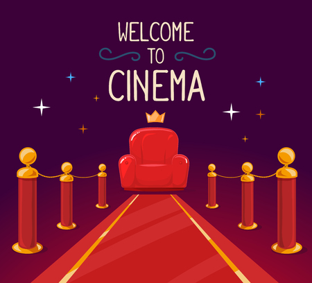 velvet rope barrier: Vector illustration of star red carpet and cinema armchair with text on purple background. Art design for web, site, advertising, banner, poster, flyer, brochure, board, paper print. Illustration