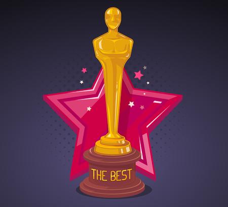 reconocimientos: Ilustración del vector del premio de cine amarillo con gran estrella roja sobre fondo oscuro. El diseño del arte para la web, sitio web, publicidad, bandera, cartel, folleto, folleto, tablero, impresión en papel. Vectores