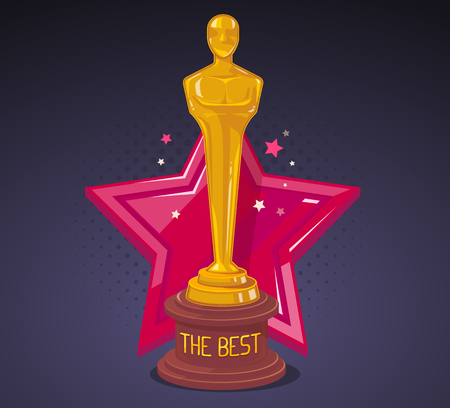 awards: Vector illustration of yellow cinema award with red big star on dark background. Art design for web, site, advertising, banner, poster, flyer, brochure, board, paper print.