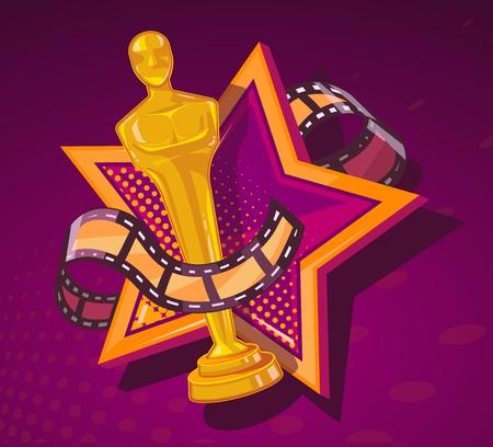 alabanza: Ilustración del vector del premio de cine amarillo con gran estrella y rollo de película en el fondo de color rojo oscuro. El diseño del arte para la web, sitio web, publicidad, bandera, cartel, folleto, folleto, tablero, impresión en papel. Vectores