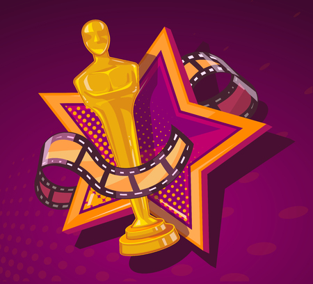 Vector illustration of yellow cinema award with big star and film reel on dark red background. Art design for web, site, advertising, banner, poster, flyer, brochure, board, paper print. Stock Illustratie