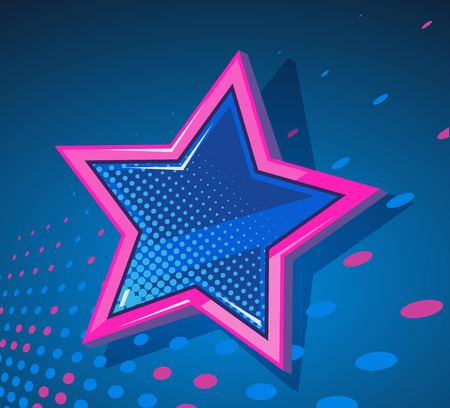 big star: Vector illustration of big star with glowing spots on dark blue  background. Art design for web, site, advertising, banner, poster, flyer, brochure, board, placard, card, paper print.