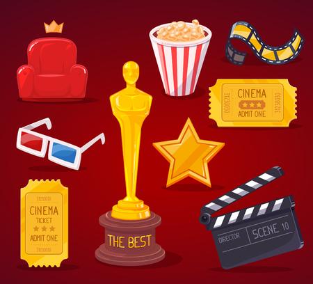 reconocimientos: Ilustración del vector de cine grande colección de objetos en el fondo rojo. El diseño del arte para la web, sitio web, publicidad, bandera, cartel, folleto, folleto, tablero, impresión en papel. Vectores