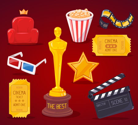 star award: Vector illustration of big cinema objects collection on red background. Art design for web, site, advertising, banner, poster, flyer, brochure, board, paper print.