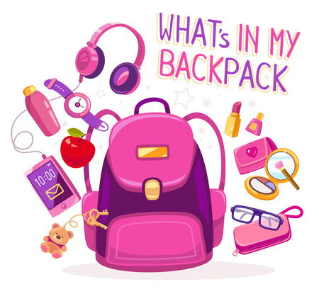 girl apple: Vector colorful illustration of big pink backpack with many young girls items on white background with text. Art design for web, site, advertising, banner, poster, flyer, brochure, board, paper print.