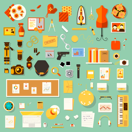 designer clothes: Color bright vector flat illustration of creative workplace of designer clothes, housewife, policeman, photographer, office worker, writer, musician with accessories and different objects. Illustration