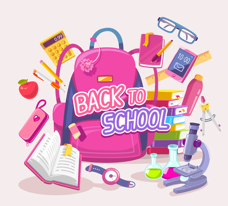 girl apple: Vector colorful illustration of big pink backpack with many student items on gray background with text. Art design for web, site, advertising, banner, poster, flyer, brochure, board, paper print.