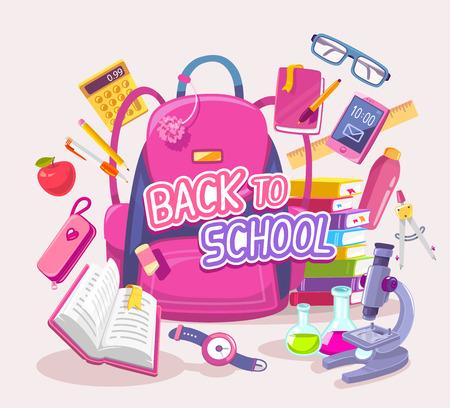 telefono caricatura: Vector la ilustración de colores de gran mochila de color rosa con muchos artículos de los estudiantes en el fondo gris con el texto. El diseño del arte para la web, sitio web, publicidad, bandera, cartel, folleto, folleto, tablero, impresión en papel.