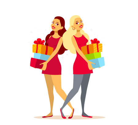 twin sister: Vector illustration of two young girls with pile of gift boxes on light background. Art design for web, site, advertising, banner, poster, flyer, brochure, board, paper print.