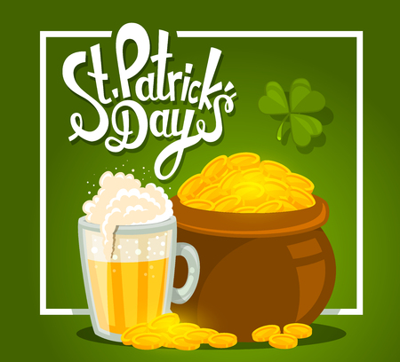 golden pot: Vector illustration of St. Patricks Day greeting with big pot of gold and beer on green background with frame. Art design for web, site, advertising, banner, poster, flyer, brochure, board, card, paper print. Illustration