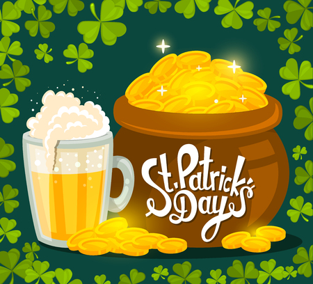 gold design: Vector illustration of St. Patricks Day greeting with big pot of gold and beer on dark green background with frame of clovers. Art design for web, site, advertising, banner, poster, flyer, brochure, board, card, paper print.