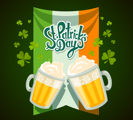 irish banner: Vector illustration of St. Patricks Day greeting with two big mugs of yellow beer with clovers, irish flag and text on green background. Art design for web, site, advertising, banner, poster, flyer, brochure, board, card, paper print.