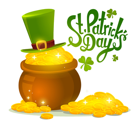 white gold: Vector illustration of St. Patricks Day greeting with big pot of gold and green hat on white background. Art design for web, site, advertising, banner, poster, flyer, brochure, board, card, paper print.