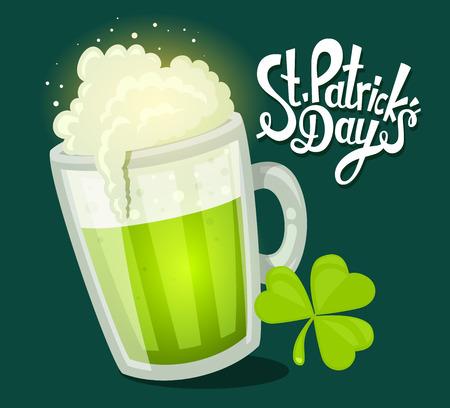 濃い緑色の背景にクローバーがビールの大ジョッキと聖パトリックの日グリーティングのベクトル イラスト。Web サイト、広告、バナー、ポスター、