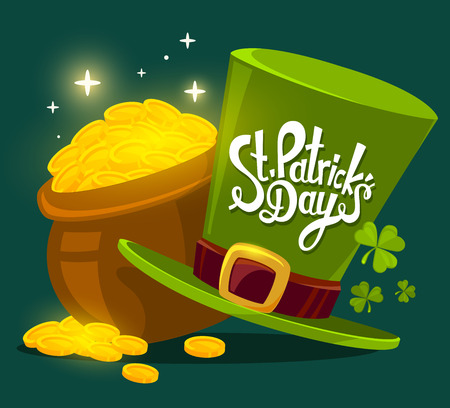 gold leaf: Vector illustration of St. Patricks Day greeting with big pot of gold and hat on dark green background. Art design for web, site, advertising, banner, poster, flyer, brochure, board, card, paper print. Illustration