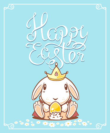 crown tail: illustration of Happy Easter greetings with white bunny holding yellow egg on blue background.