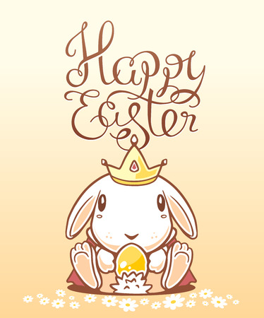 crown tail: Illustration of Happy Easter greetings with white bunny holding egg on yellow background.