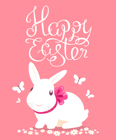 cartoon hare: Vector colorful illustration of Happy Easter greetings with white bunny on pink background. Line art design for web, site, banner, poster, card, paper print, postcard.