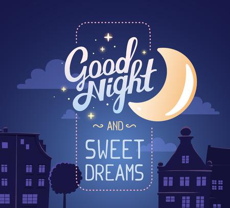 illustration de la silhouette de la rue nocturne de la ville sur le ciel bleu foncé fond à souhait et grande lune. Art design pour le web, site, publicité, affiche, brochure, carte, carte, papier d'impression.