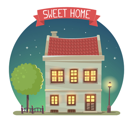 city live: illustration of night house with street lamp and tree in dark blue sky circle on white background. Art design for web, site, advertising,  poster, brochure, board, card, paper print. Stock Photo