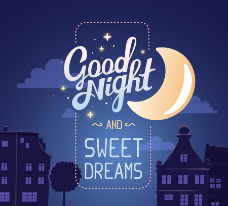 city live: illustration of silhouette of night city street on dark blue sky background with wish and big moon. Art design for web, site, advertising,  poster,brochure, board, card, paper print.