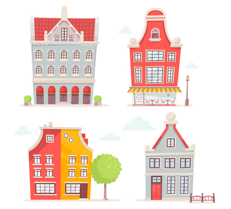 city live: set of illustration of city buildings isolated on white background. Art design for web, site, advertising,  poster,  brochure, board, card, paper print.